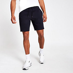 Navy regular fit pique shorts