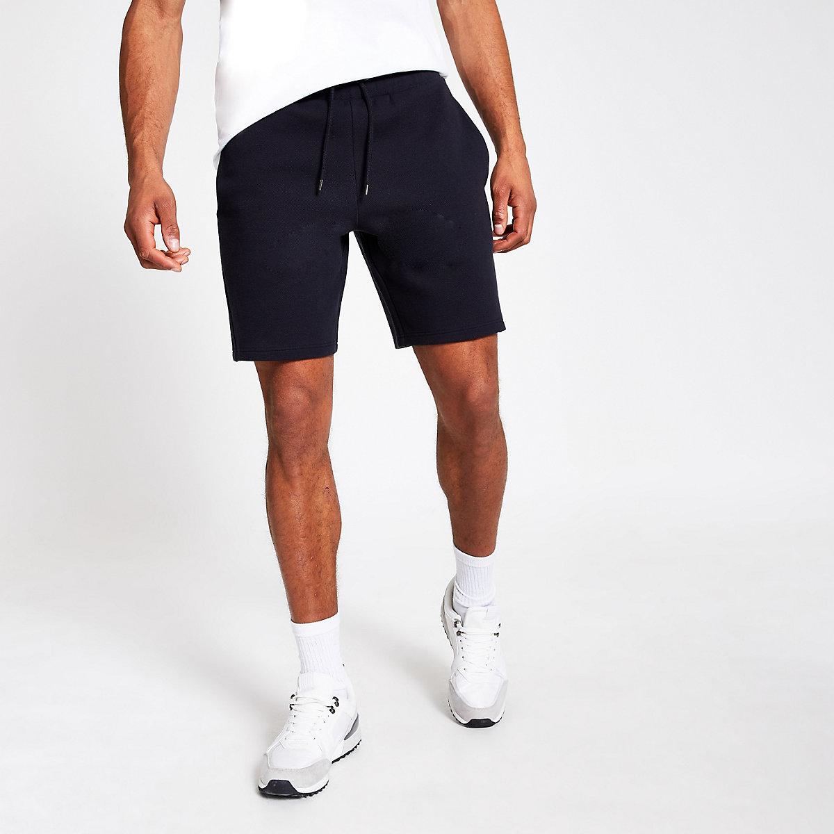 Navy regular fit pique shorts