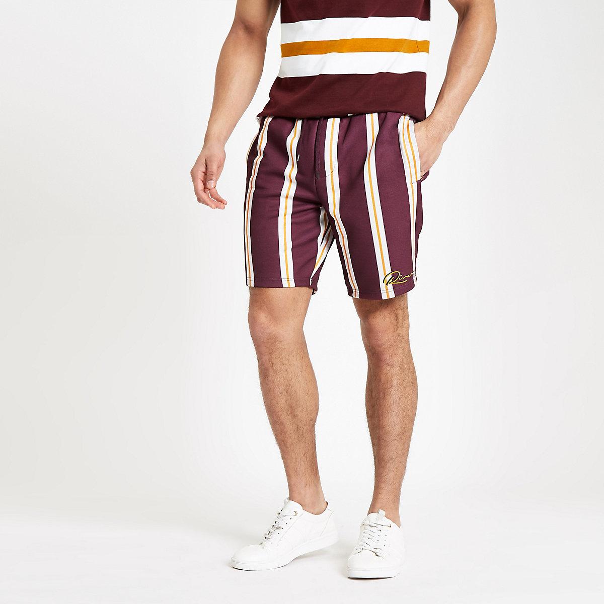 Dark red slim fit stripe print shorts