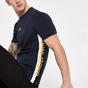 T-shirt ajusté à bande «Undefined» bleu marine