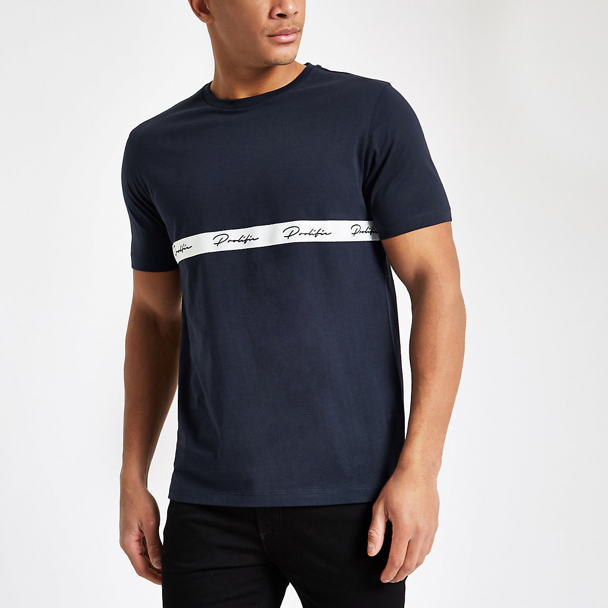 Navy slim fit printed tape T-shirt