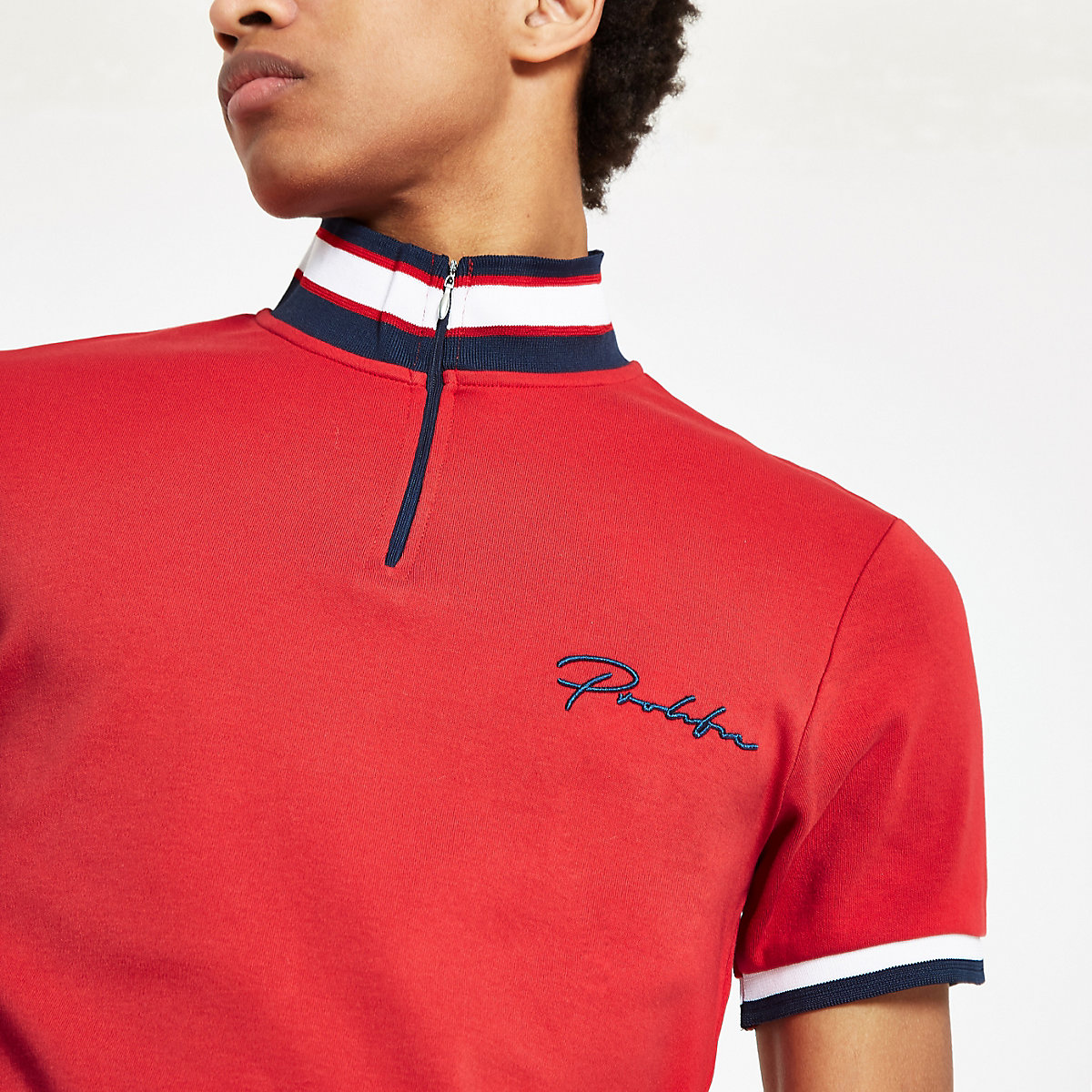 Red 'Prolific' zip funnel neck polo shirt