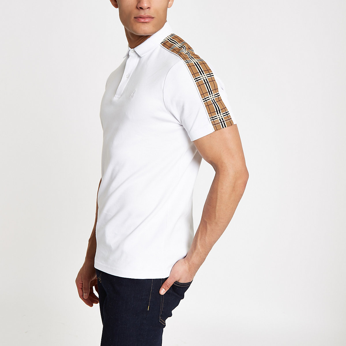 White check tape polo shirt