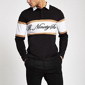 Schwarzes Slim Fit Rugby-Hemd
