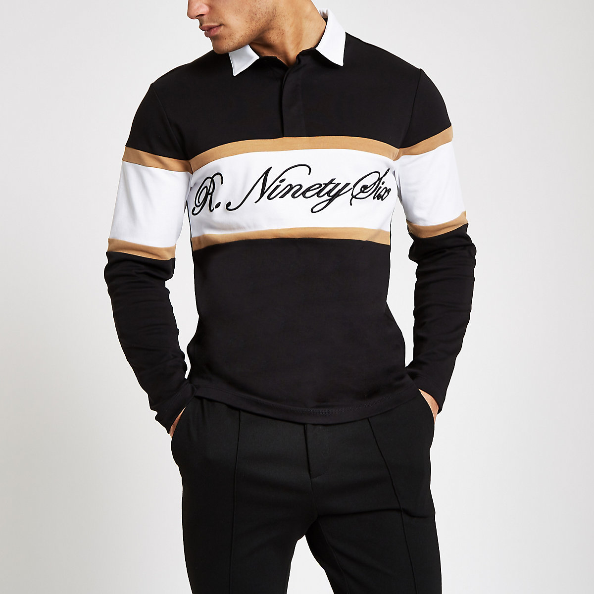 Black slim fit blocked rugby shirt