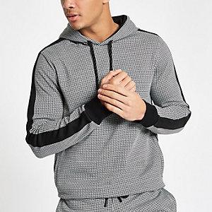 Black dogtooth check slim fit hoodie