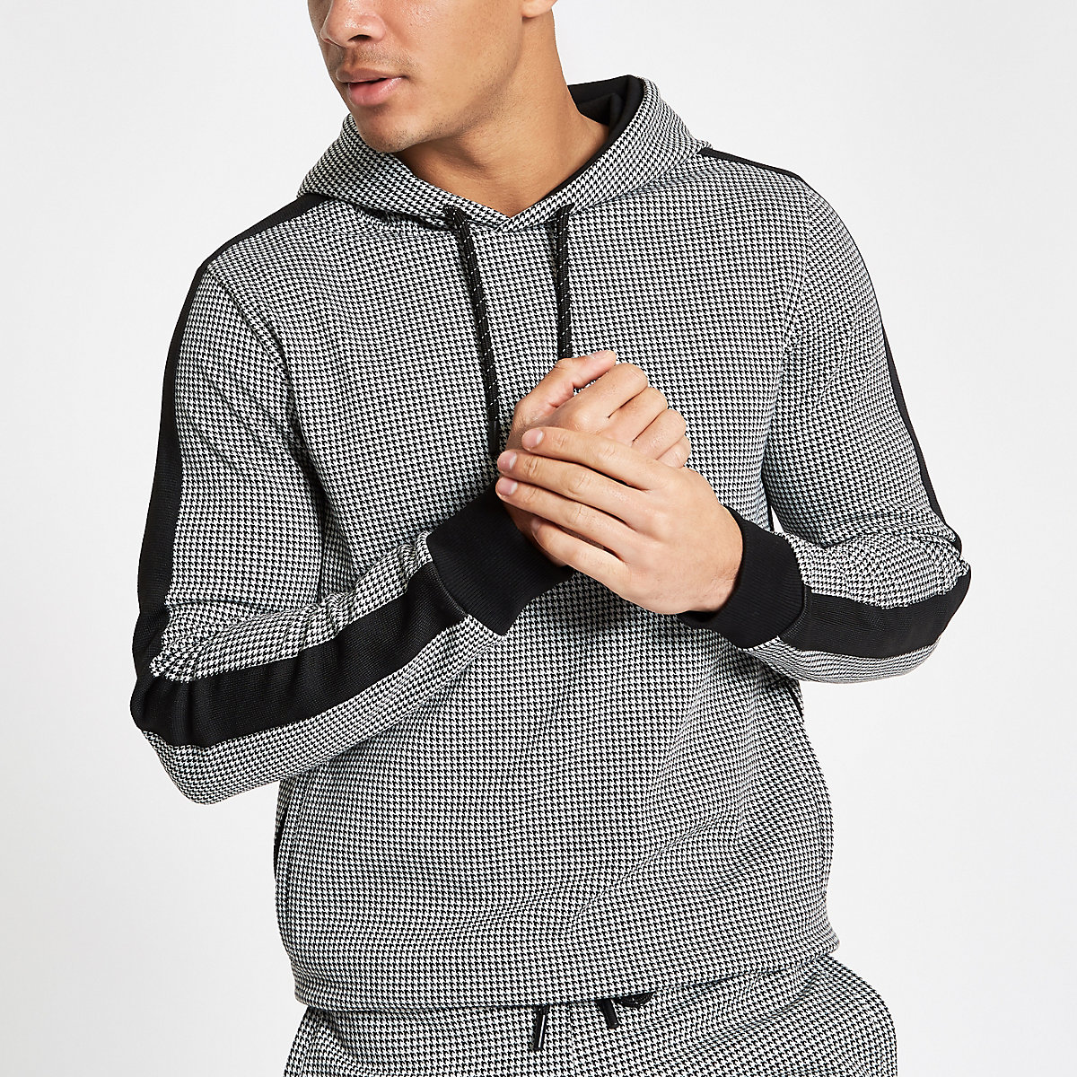 Black houndstooth check slim fit hoodie