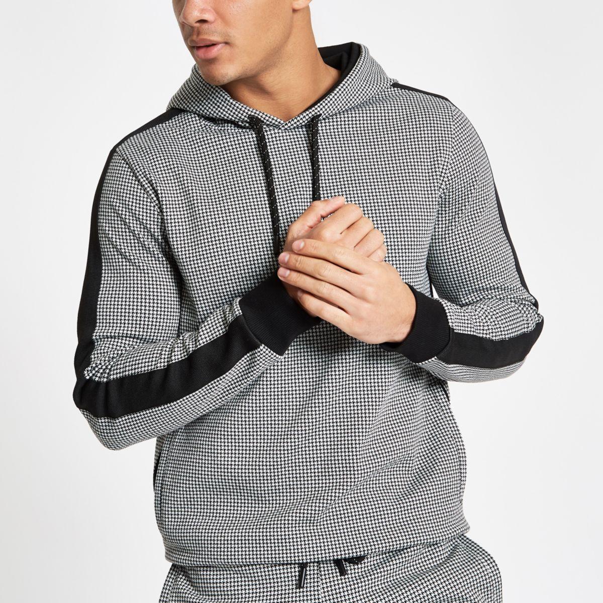Black houndstooth check slim fit hoodie