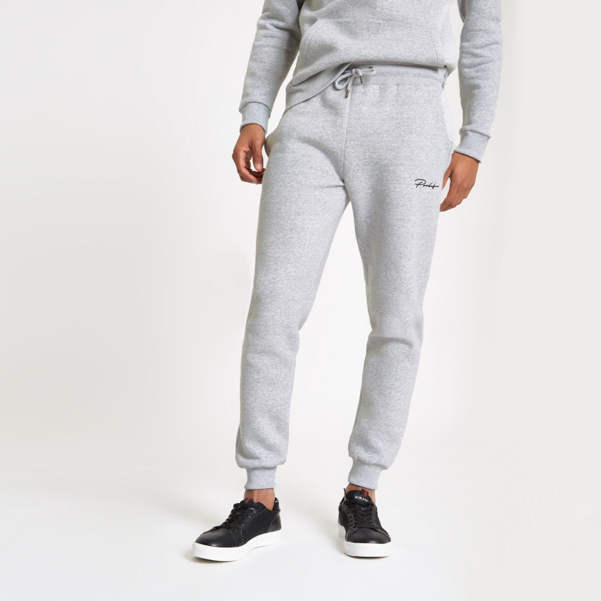 Grey muscle fit embroidered joggers