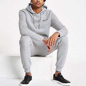 Grijs gemêleerde aansluitende hoodie met 'Prolific'-print