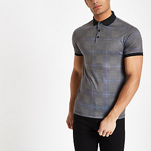 Grey check muscle fit polo shirt