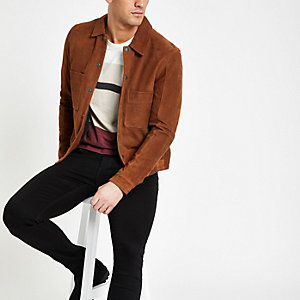 Selected Homme – Veste en cuir marron