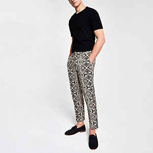 Ecru print skinny crop smart pants