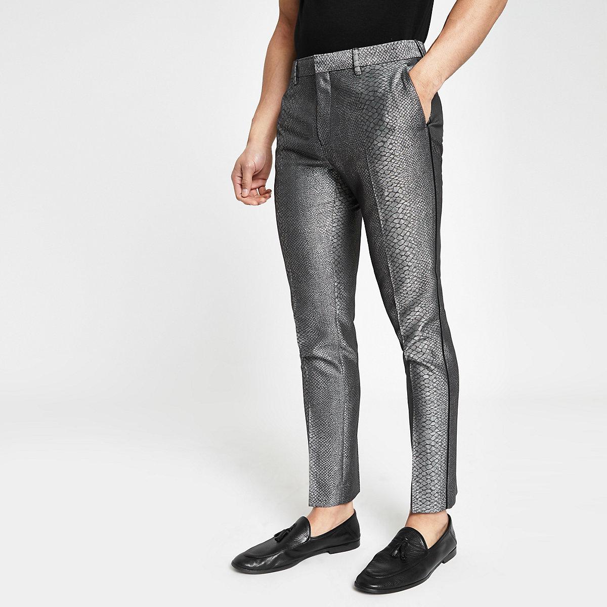 Grey snake skin smart skinny pants