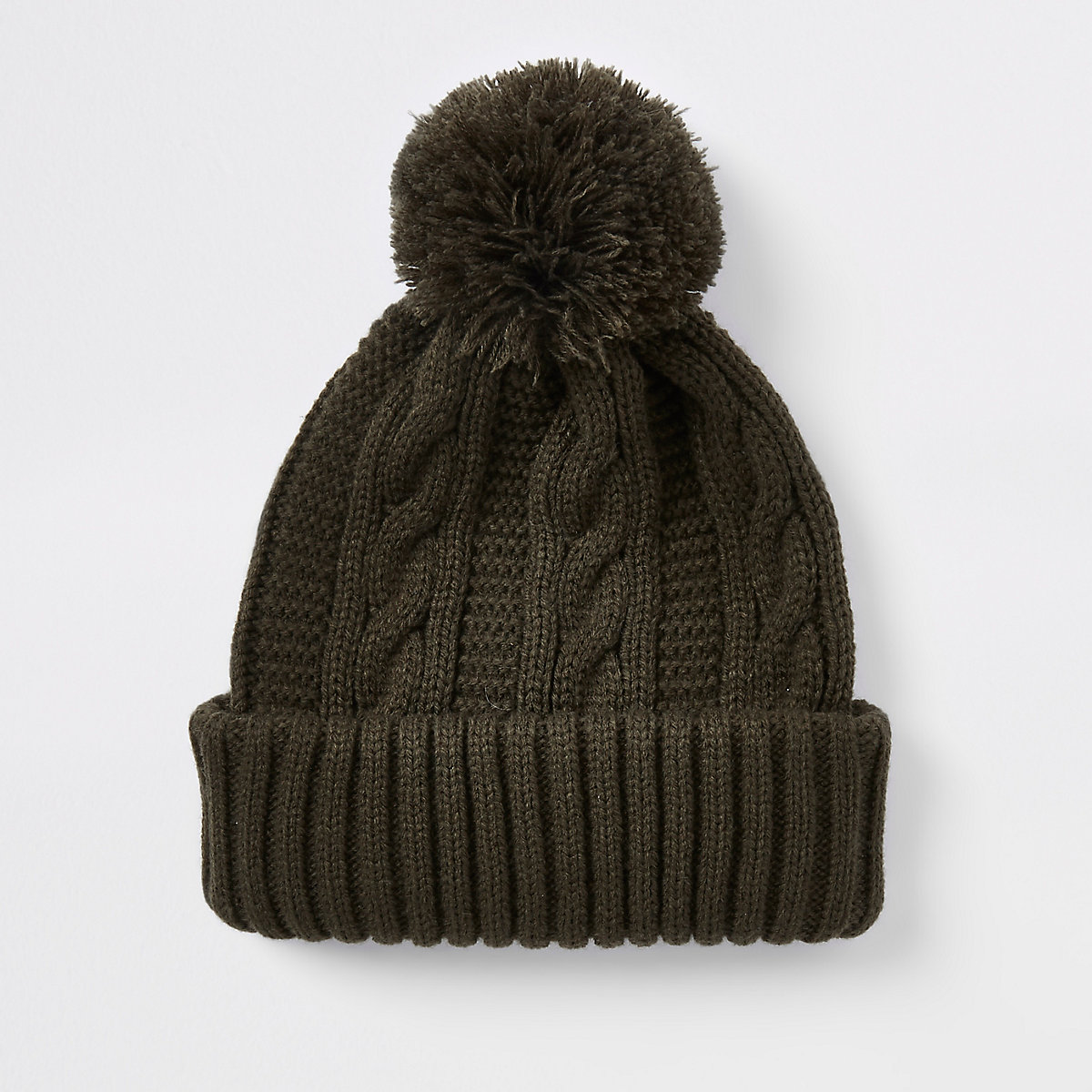 Khaki knit bobble beanie hat