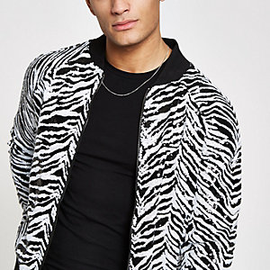 Jaded London black zebra print bomber jacket