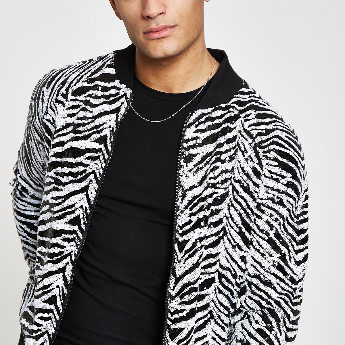 Jaded London black zebra print bomber jacket