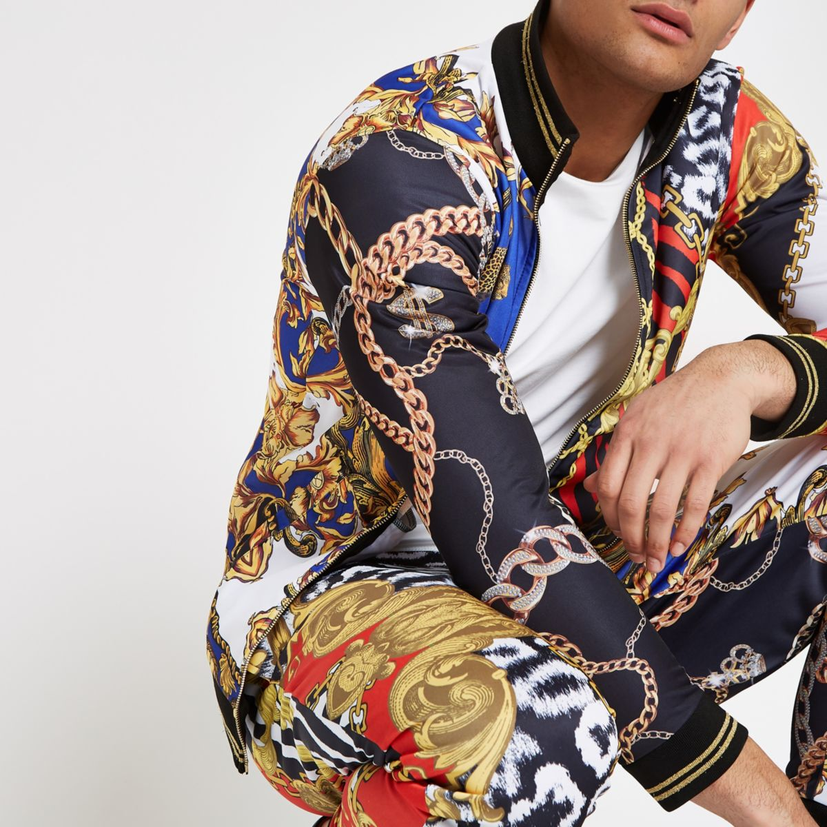 Jaded London red scarf print track jacket