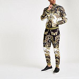 Jaded London - Zwart trainingsjack met barokprint en siersteentjes
