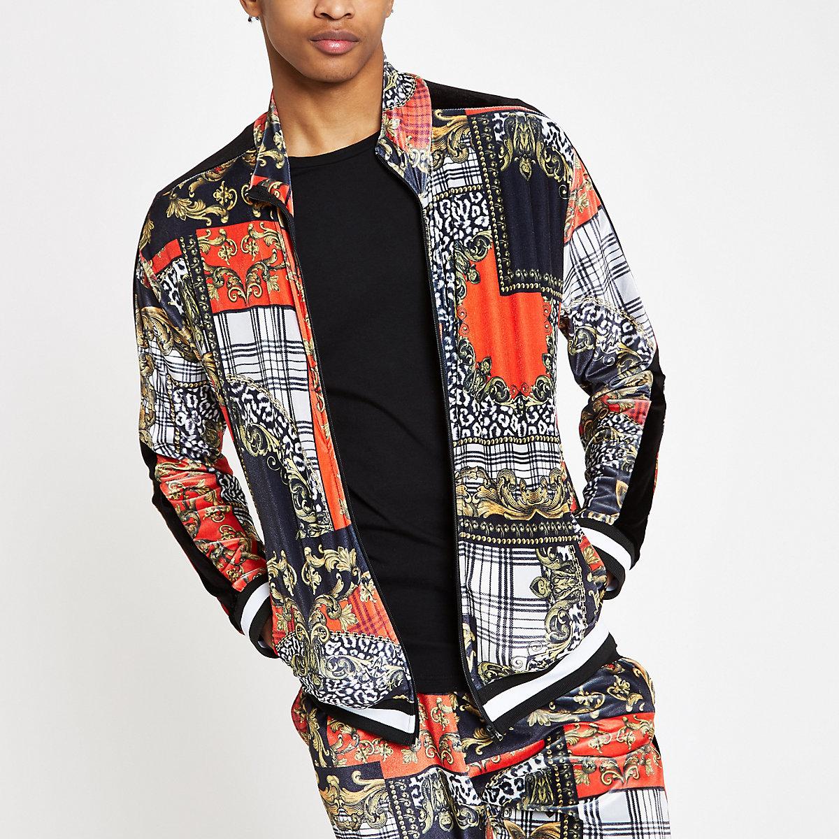 Jaded London red baroque zip track jacket