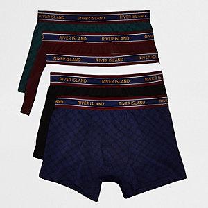 Multipack bordeauxrode strakke boxers met RI-monogram
