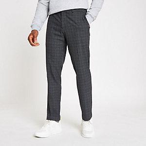 Selected Homme - Grijze geruite smaltoelopende broek