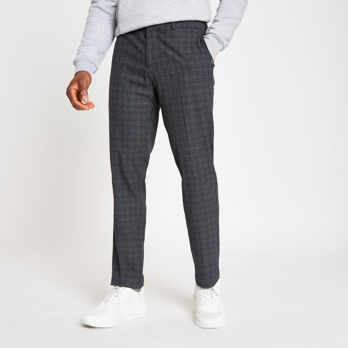 Selected Homme grey check tapered pants