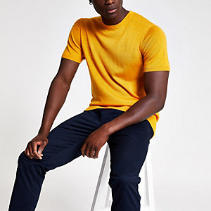 Selected Homme yellow knit T-shirt