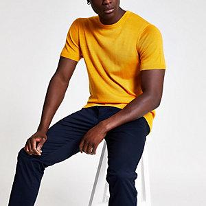 Selected Homme - Geel gebreid T-shirt