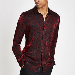 Red metallic printed button-down shirt
