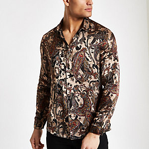 Ecru paisley jacquard long sleeve shirt