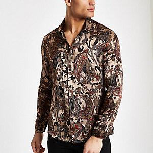 Ecru paisley jacquard slim fit shirt