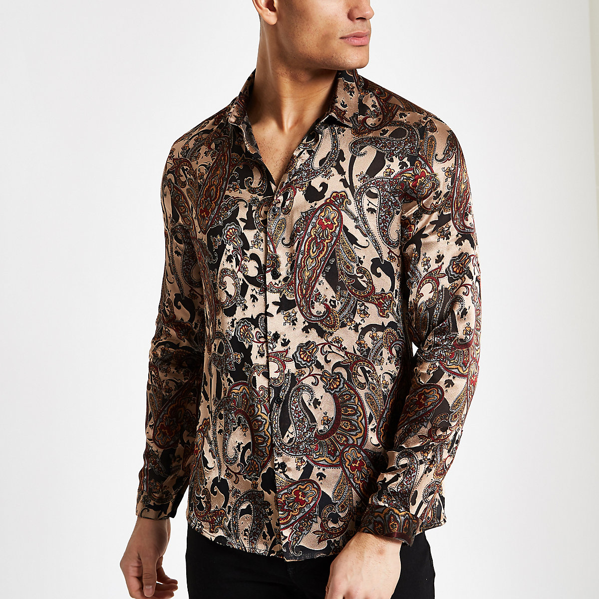Ecru paisley jacquard long sleeve shirt