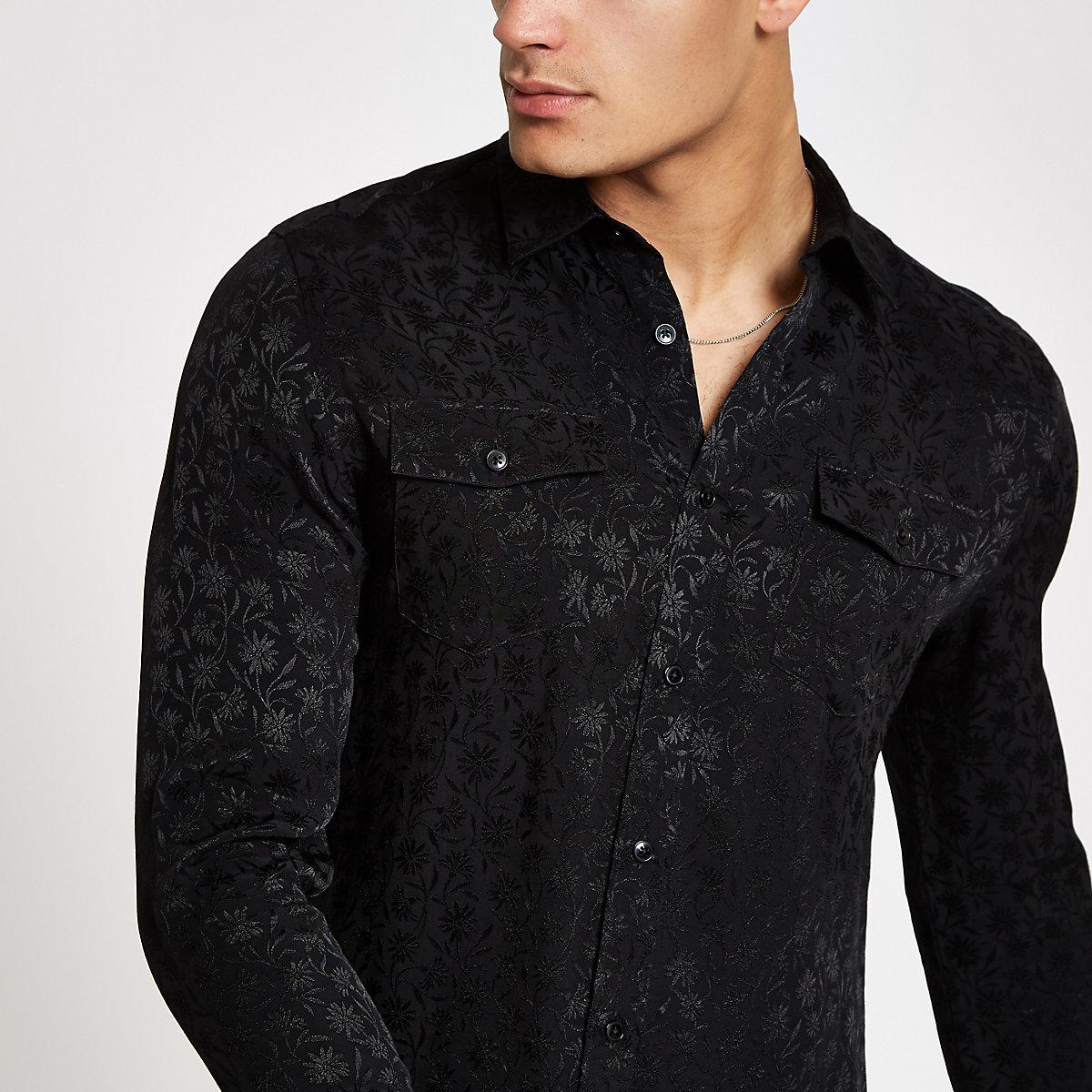 Black jacquard button-down shirt