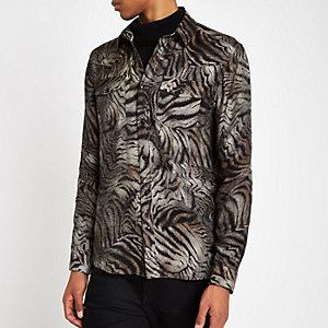 Brown tiger print button-down shirt