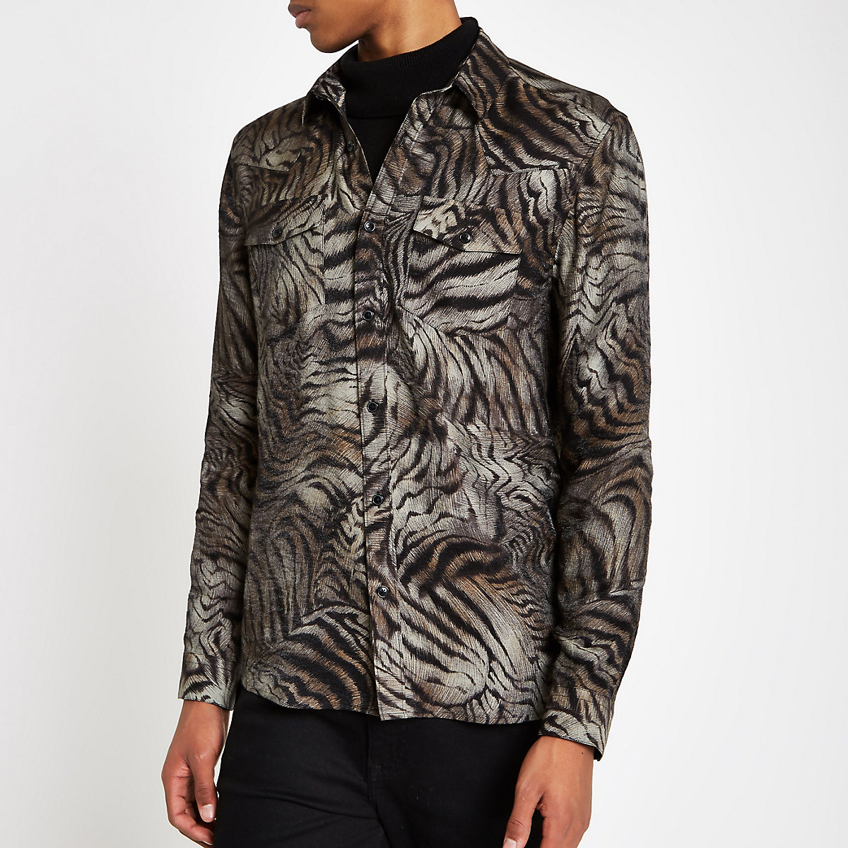 Brown tiger print button-down shirt