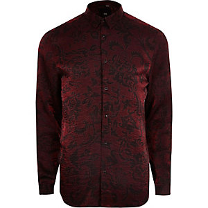 Big and Tall red metallic print button shirt