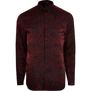 Big & Tall – Hemd in Rot-Metallic