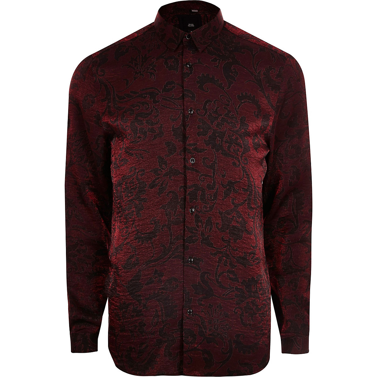 Big and Tall red metallic print button shirt