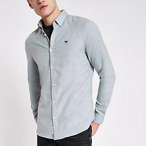 Chemise grise boutonnée à broderie guêpe