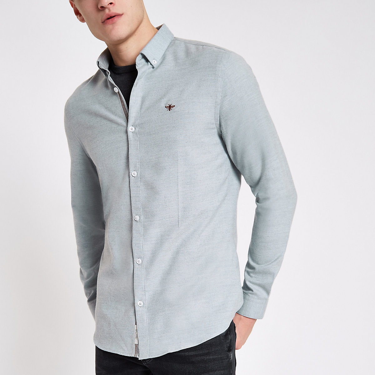 Grey wasp embroidered button-down shirt