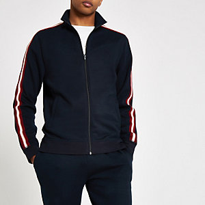 R96 navy slim fit tape track jacket