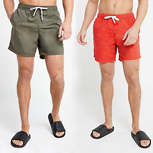 Dark green and red swim trunks two pack