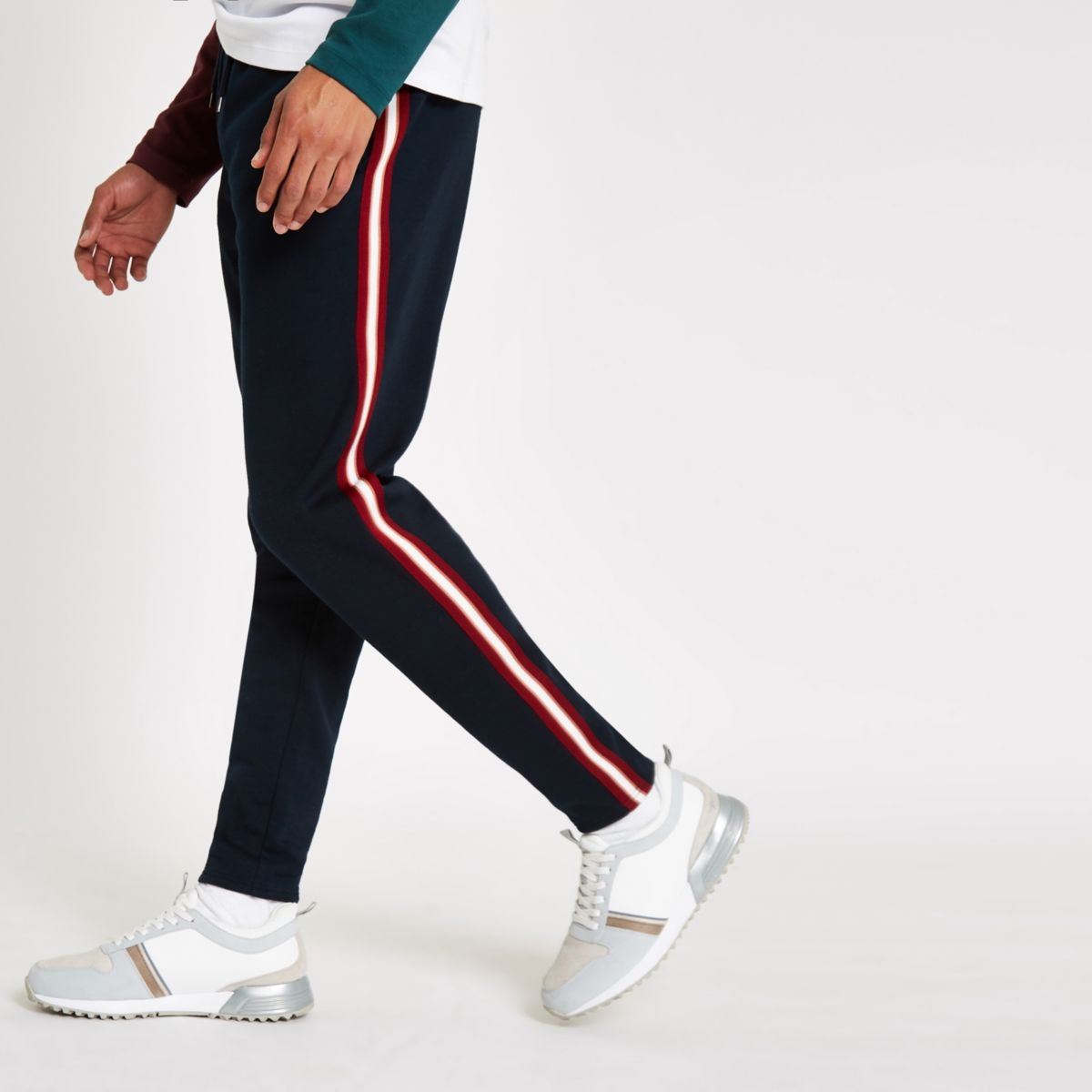 R96 navy slim fit smart jogger trousers