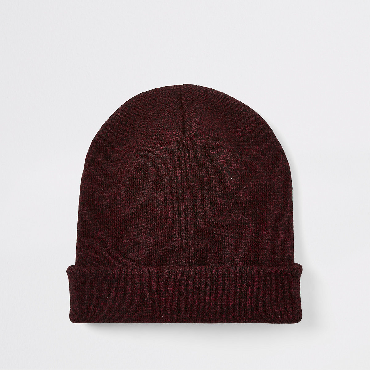 Red twist knit slouch beanie hat