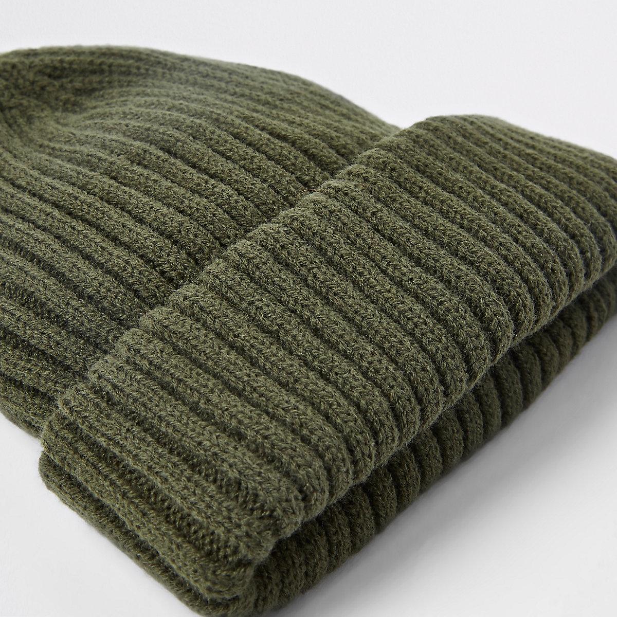 Khaki green fisherman knit beanie hat - Hats   Caps - Accessories - men 7cbe734f2de6