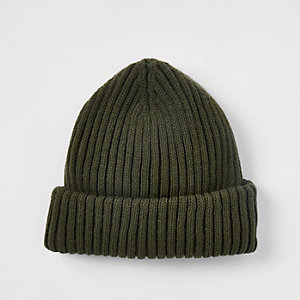 Khaki green fisherman knit beanie hat