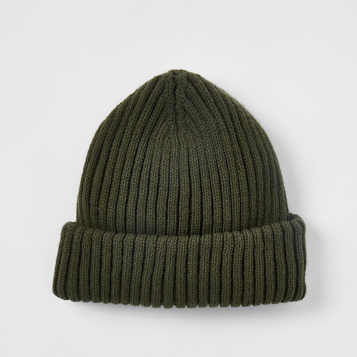 Khaki green fisherman knit beanie hat - Hats   Caps - Accessories - men bd18c2f2941