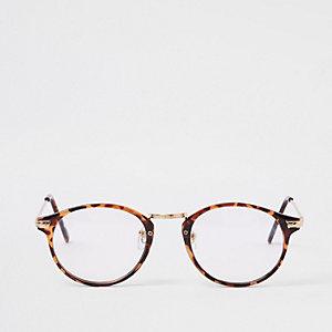 Jeepers Peepers - Bruine tortoise bril met heldere glazen