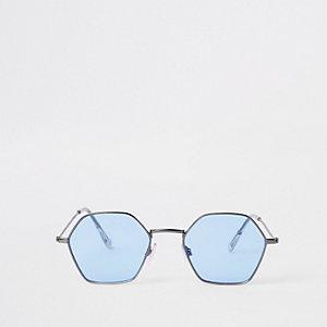 Jeepers Peepers - Grijze zonnebril met zeshoekig montuur en blauwe glazen
